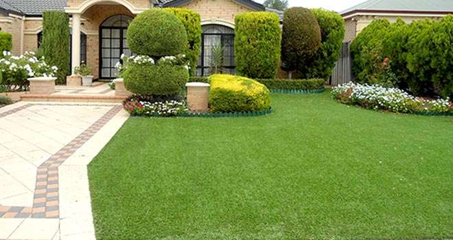 Garden made of artificial grass